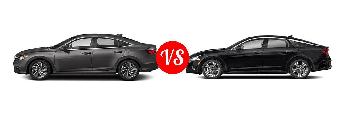 2021 Honda Insight Sedan Hybrid Touring vs. 2021 Kia K5 Sedan EX - Side Comparison