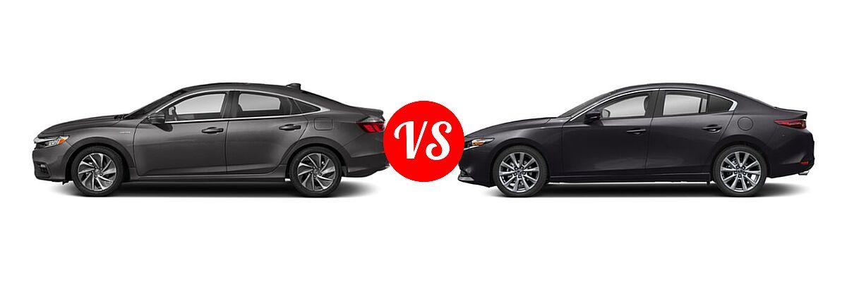 2021 Honda Insight Sedan Hybrid Touring vs. 2021 Mazda 2 Sedan Select - Side Comparison
