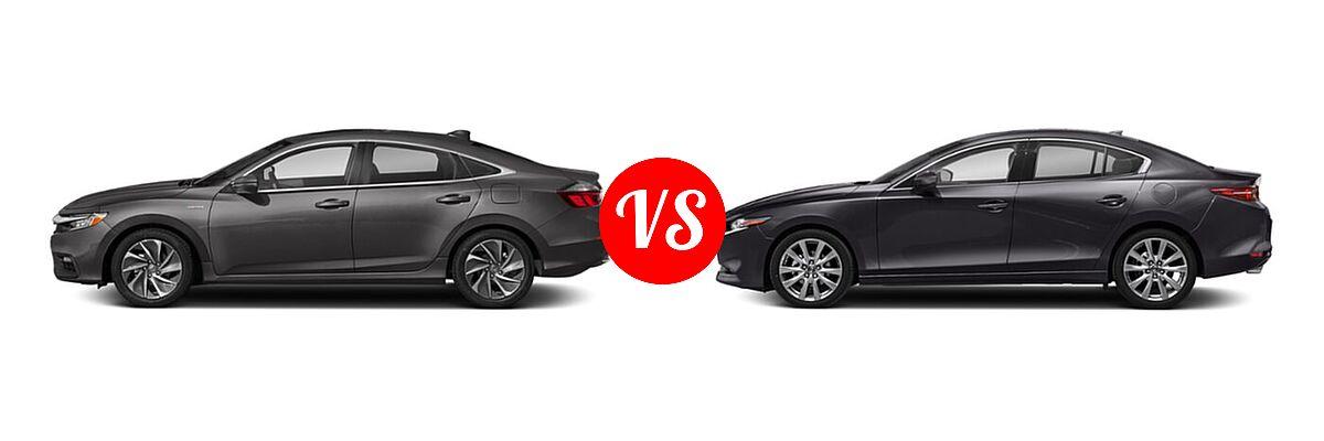 2021 Honda Insight Sedan Hybrid Touring vs. 2021 Mazda 2 Sedan Premium - Side Comparison