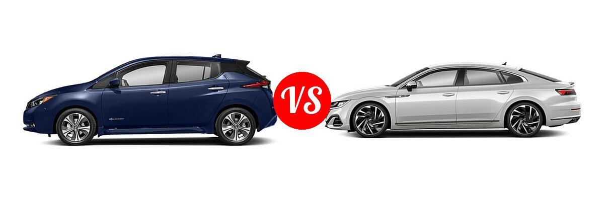 2021 Nissan Leaf Hatchback Electric S / S PLUS / SL PLUS / SV / SV PLUS vs. 2021 Volkswagen Arteon Hatchback SEL Premium R-Line / SEL R-Line - Side Comparison
