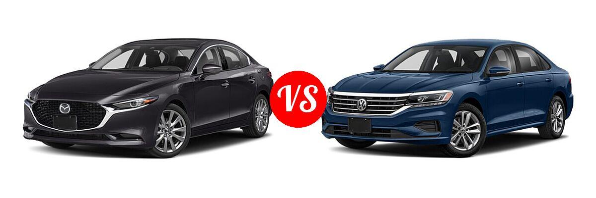 2021 Mazda 2 Sedan Premium vs. 2021 Volkswagen Passat Sedan 2.0T S / 2.0T SE - Front Left Comparison
