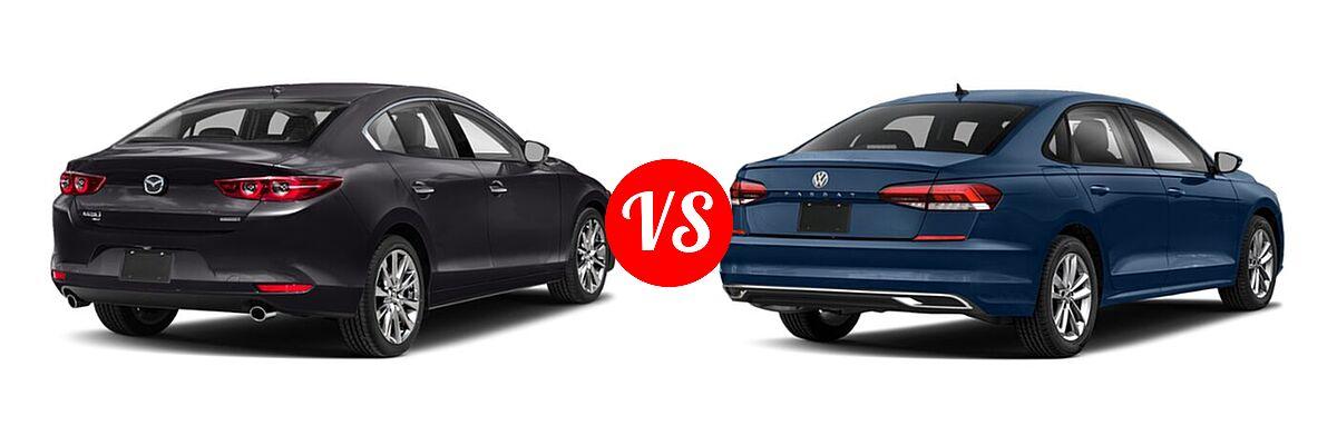 2021 Mazda 2 Sedan Premium vs. 2021 Volkswagen Passat Sedan 2.0T R-Line - Rear Right Comparison