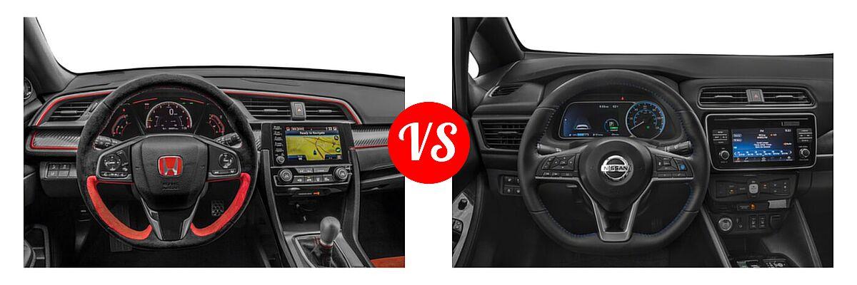 2021 Honda Civic Type R Hatchback Touring vs. 2021 Nissan Leaf Hatchback Electric S / S PLUS / SL PLUS / SV / SV PLUS - Dashboard Comparison