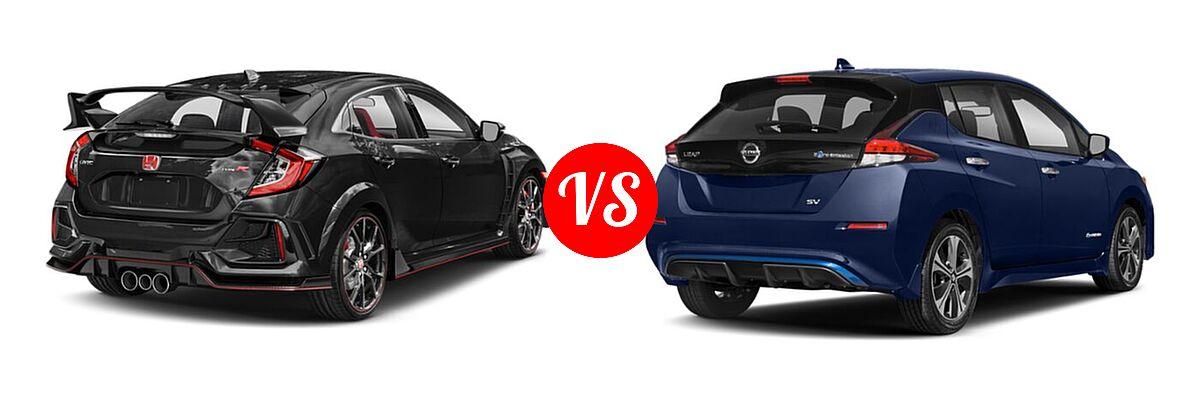 2021 Honda Civic Type R Hatchback Touring vs. 2021 Nissan Leaf Hatchback Electric S / S PLUS / SL PLUS / SV / SV PLUS - Rear Right Comparison