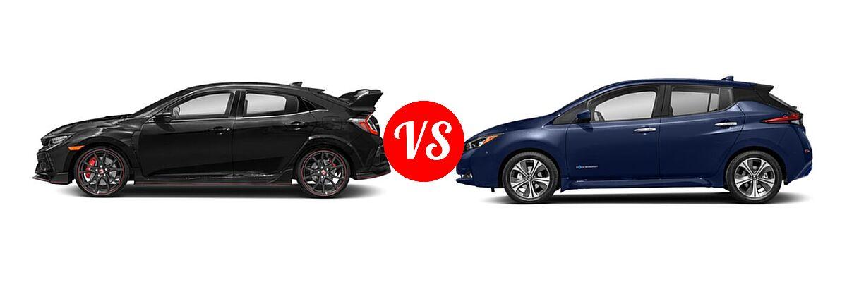 2021 Honda Civic Type R Hatchback Touring vs. 2021 Nissan Leaf Hatchback Electric S / S PLUS / SL PLUS / SV / SV PLUS - Side Comparison