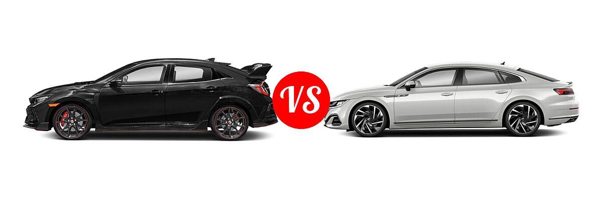2021 Honda Civic Type R Hatchback Touring vs. 2021 Volkswagen Arteon Hatchback SEL Premium R-Line / SEL R-Line - Side Comparison