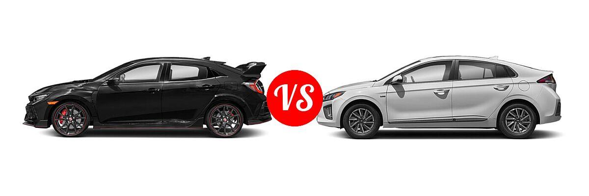 2021 Honda Civic Type R Hatchback Touring vs. 2021 Hyundai Ioniq Electric Hatchback Electric SE - Side Comparison