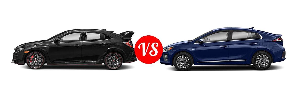 2021 Honda Civic Type R Hatchback Touring vs. 2021 Hyundai Ioniq Electric Hatchback Electric Limited - Side Comparison