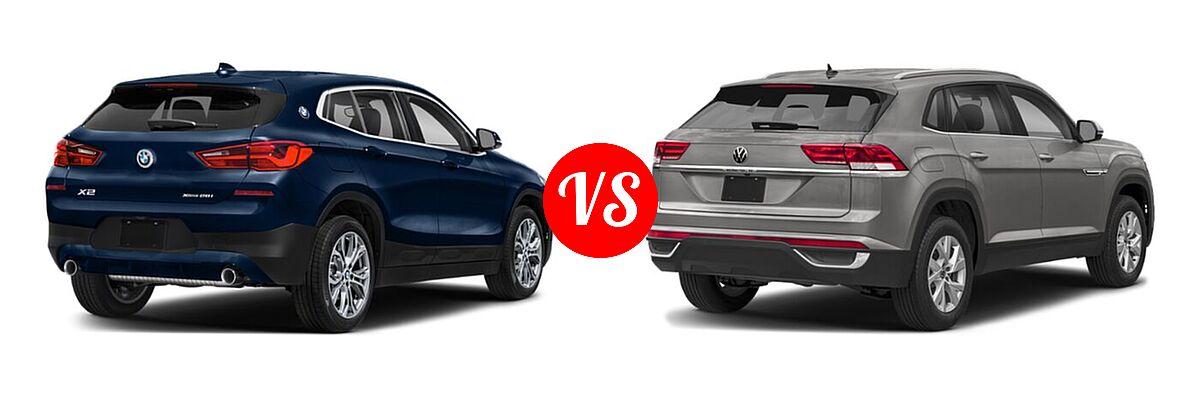 2021 BMW X2 SUV sDrive28i / xDrive28i vs. 2021 Volkswagen Atlas Cross Sport SUV 2.0T S / 2.0T SE / 2.0T SE w/Technology / 2.0T SEL / 2.0T SEL Premium / 3.6L V6 SE w/Technology / 3.6L V6 SE w/Technology R-Line / 3.6L V6 SEL / 3.6L V6 SEL Premium / 3.6L V6 SEL Premium R-Line / 3.6L V6 SEL R-Line - Rear Right Comparison