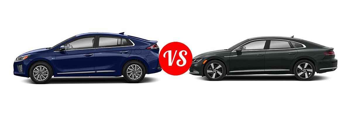 2021 Hyundai Ioniq Electric Hatchback Electric Limited vs. 2021 Volkswagen Arteon Hatchback SE - Side Comparison