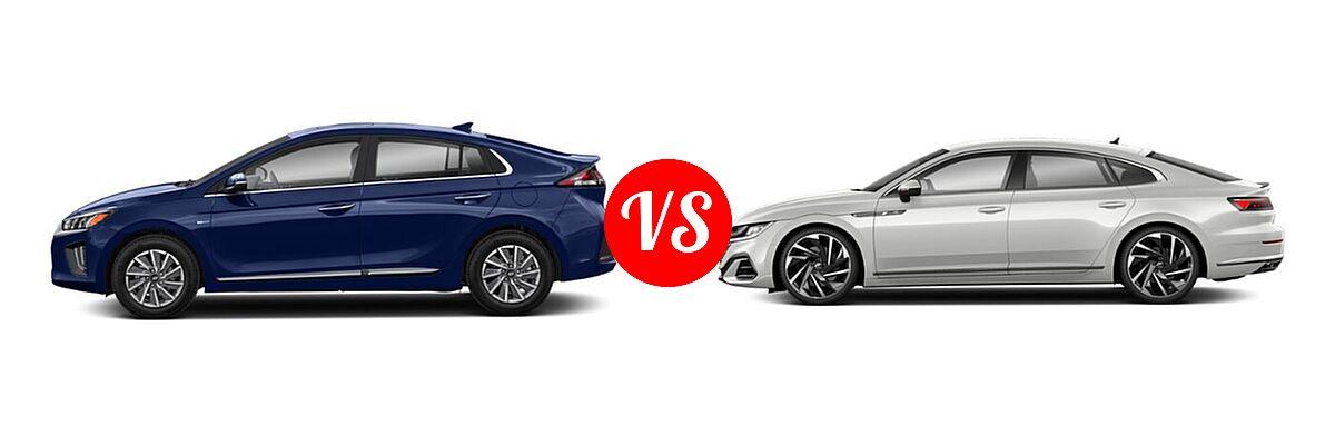 2021 Hyundai Ioniq Electric Hatchback Electric Limited vs. 2021 Volkswagen Arteon Hatchback SEL Premium R-Line / SEL R-Line - Side Comparison