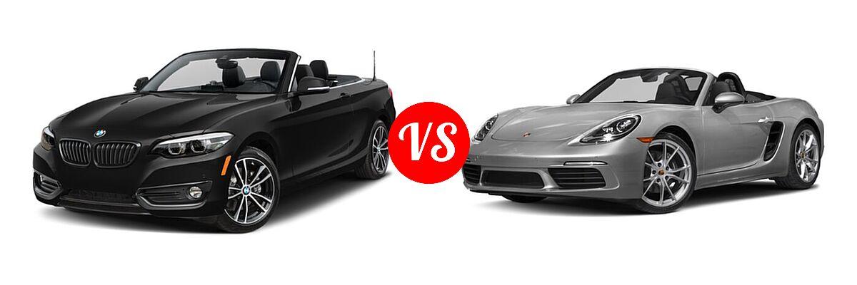 2021 BMW 2 Series Convertible 230i vs. 2021 Porsche 718 Boxster Convertible Roadster - Front Left Comparison