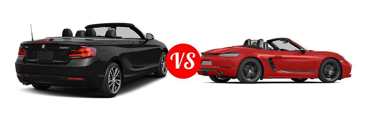 2021 BMW 2 Series Convertible 230i vs. 2021 Porsche 718 Boxster Convertible T - Rear Right Comparison