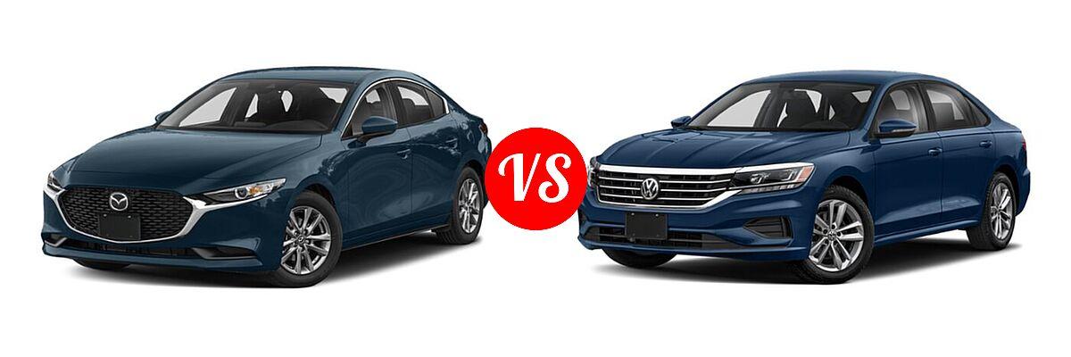 2021 Mazda 2 Sedan 2.5 S vs. 2021 Volkswagen Passat Sedan 2.0T S / 2.0T SE - Front Left Comparison