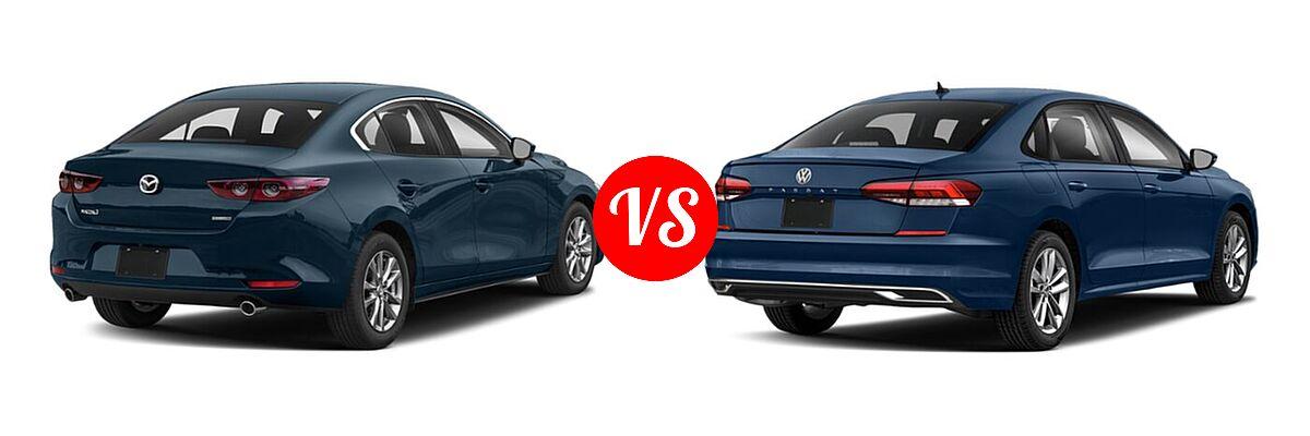 2021 Mazda 2 Sedan 2.5 S vs. 2021 Volkswagen Passat Sedan 2.0T S / 2.0T SE - Rear Right Comparison