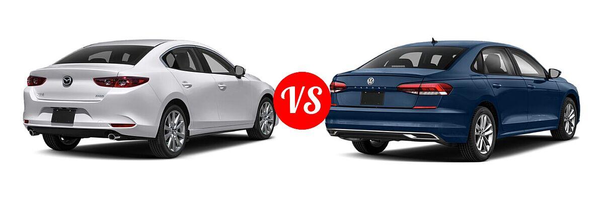 2021 Mazda 2 Sedan Select vs. 2021 Volkswagen Passat Sedan 2.0T S / 2.0T SE - Rear Right Comparison