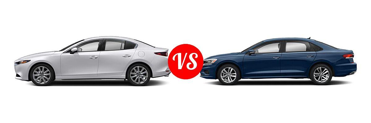 2021 Mazda 2 Sedan Select vs. 2021 Volkswagen Passat Sedan 2.0T R-Line - Side Comparison