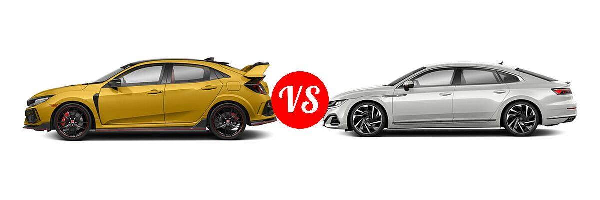 2021 Honda Civic Type R Hatchback Limited Edition vs. 2021 Volkswagen Arteon Hatchback SEL Premium R-Line / SEL R-Line - Side Comparison