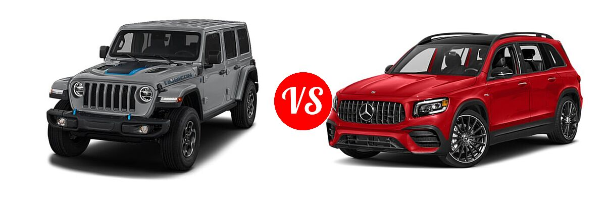 2021 Jeep Wrangler Unlimited SUV PHEV Unlimited Rubicon / Unlimited Sahara / Unlimited Sahara High Altitude vs. 2021 Mercedes-Benz GLB-Class 35 AMG SUV AMG GLB 35 - Front Left Comparison