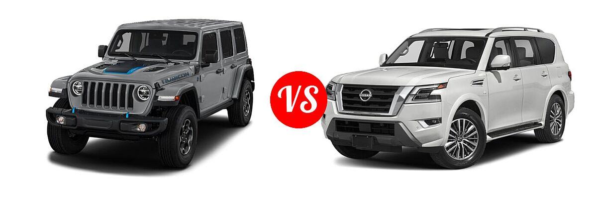 2021 Jeep Wrangler Unlimited SUV PHEV Unlimited Rubicon / Unlimited Sahara / Unlimited Sahara High Altitude vs. 2021 Nissan Armada SUV SL - Front Left Comparison