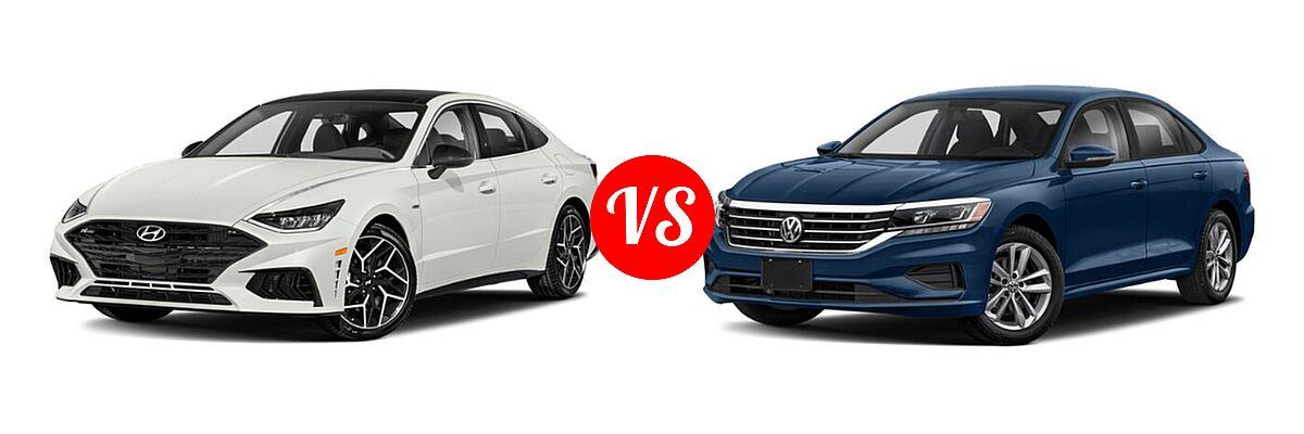 2021 Hyundai Sonata Sedan N Line vs. 2021 Volkswagen Passat Sedan 2.0T R-Line - Front Left Comparison