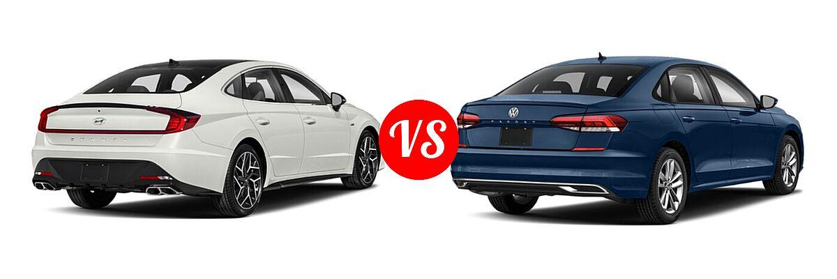 2021 Hyundai Sonata Sedan N Line vs. 2021 Volkswagen Passat Sedan 2.0T S / 2.0T SE - Rear Right Comparison