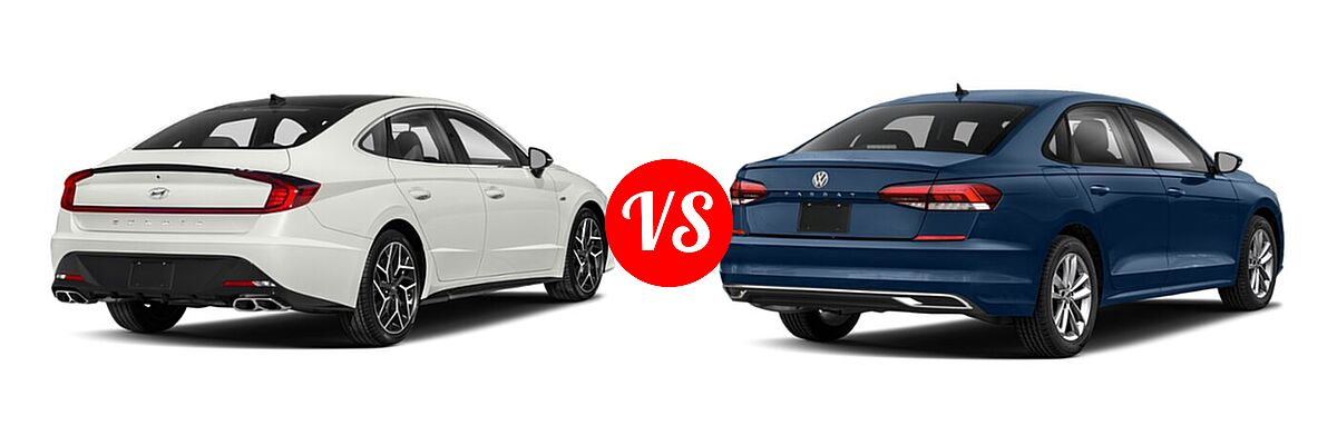 2021 Hyundai Sonata Sedan N Line vs. 2021 Volkswagen Passat Sedan 2.0T R-Line - Rear Right Comparison