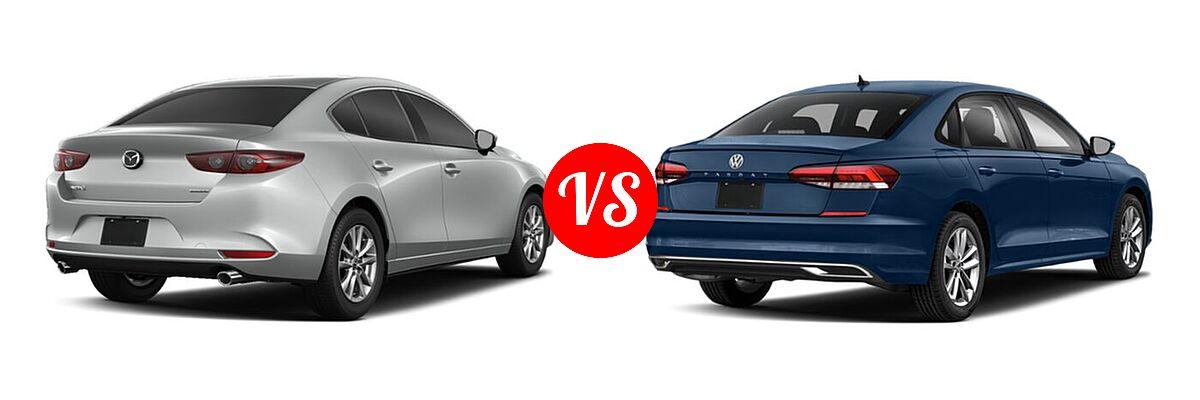 2021 Mazda 2 Sedan 2.0 vs. 2021 Volkswagen Passat Sedan 2.0T S / 2.0T SE - Rear Right Comparison