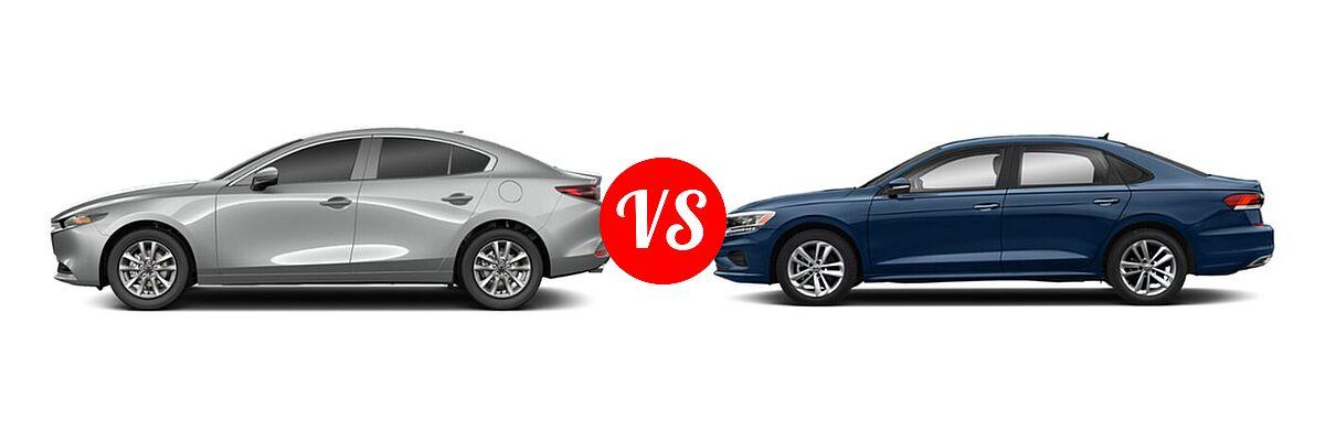 2021 Mazda 2 Sedan 2.0 vs. 2021 Volkswagen Passat Sedan 2.0T R-Line - Side Comparison