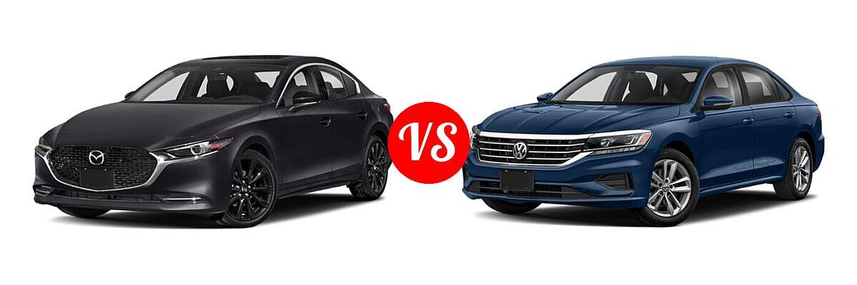 2021 Mazda 2 Sedan 2.5 Turbo vs. 2021 Volkswagen Passat Sedan 2.0T S / 2.0T SE - Front Left Comparison