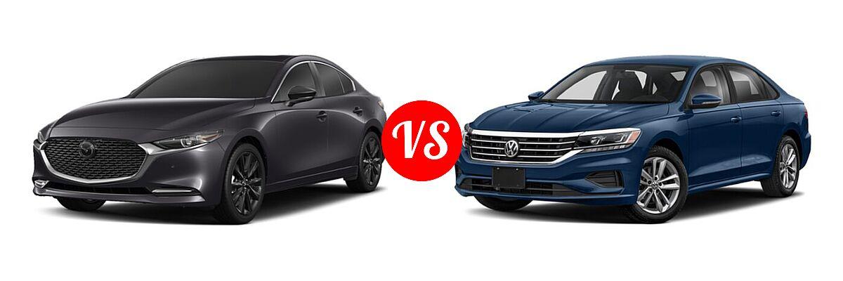 2021 Mazda 2 Sedan 2.5 Turbo Premium Plus vs. 2021 Volkswagen Passat Sedan 2.0T R-Line - Front Left Comparison