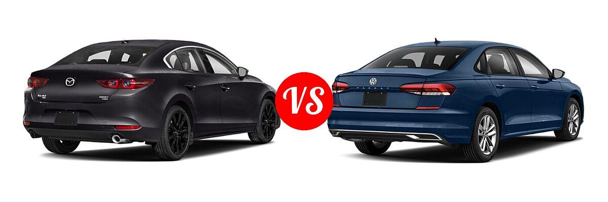 2021 Mazda 2 Sedan 2.5 Turbo vs. 2021 Volkswagen Passat Sedan 2.0T R-Line - Rear Right Comparison