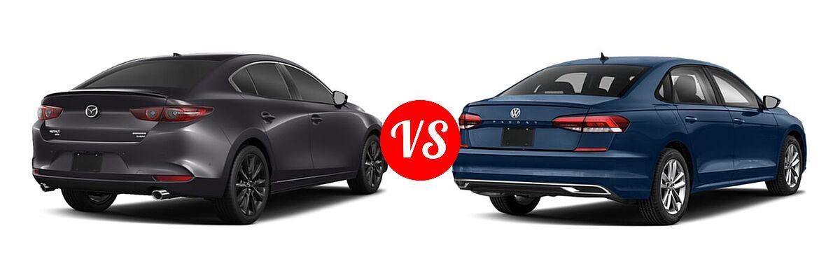 2021 Mazda 2 Sedan 2.5 Turbo Premium Plus vs. 2021 Volkswagen Passat Sedan 2.0T R-Line - Rear Right Comparison