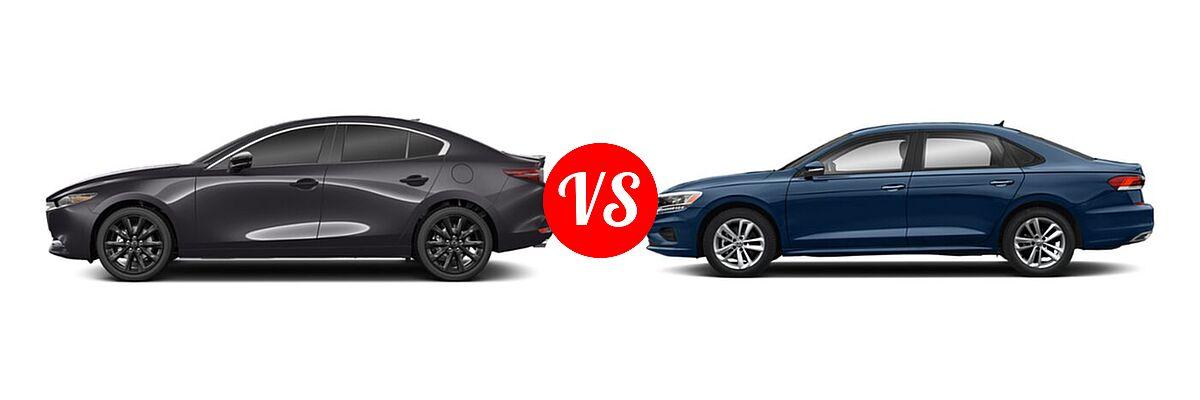 2021 Mazda 2 Sedan 2.5 Turbo Premium Plus vs. 2021 Volkswagen Passat Sedan 2.0T S / 2.0T SE - Side Comparison