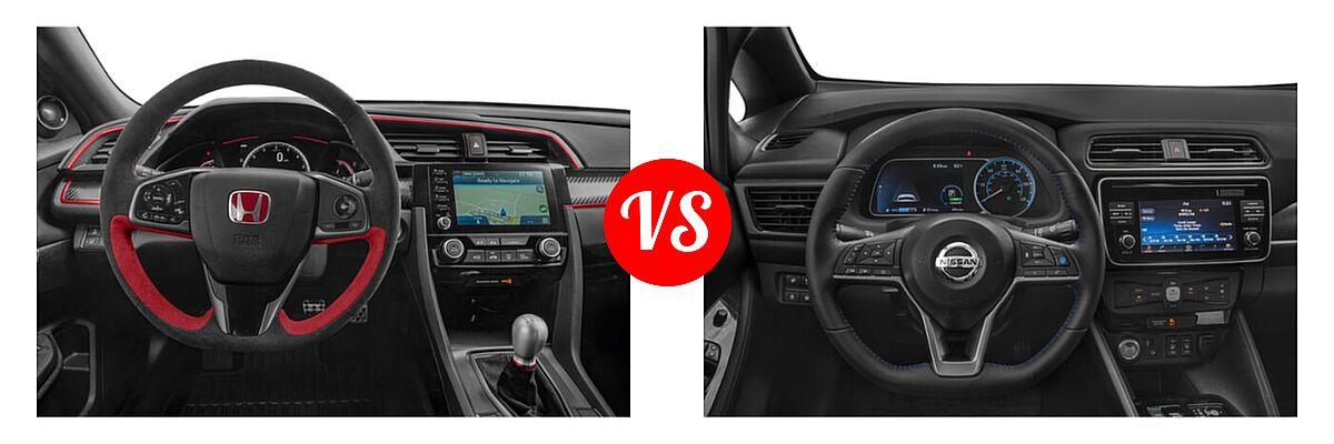 2021 Honda Civic Type R Hatchback Limited Edition vs. 2021 Nissan Leaf Hatchback Electric S / S PLUS / SL PLUS / SV / SV PLUS - Dashboard Comparison