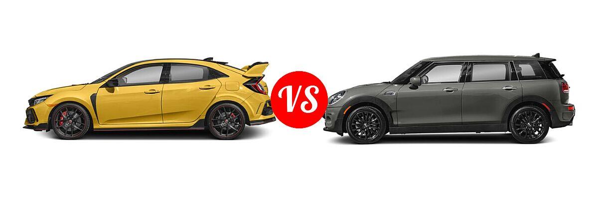 2021 Honda Civic Type R Hatchback Limited Edition vs. 2021 MINI Clubman John Cooper Works Hatchback John Cooper Works - Side Comparison