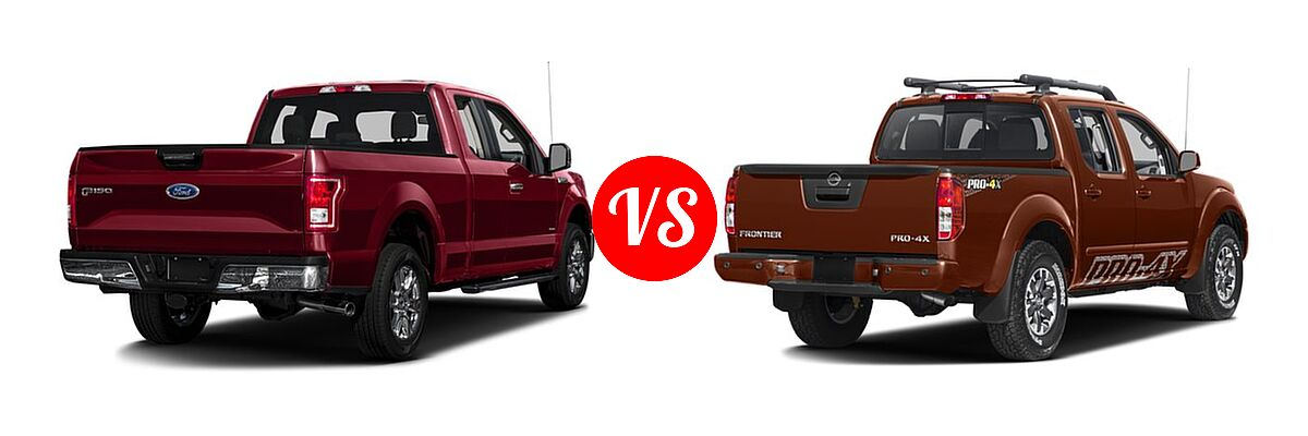 2016 Ford F-150 Pickup XLT vs. 2016 Nissan Frontier Pickup PRO-4X - Rear Right Comparison