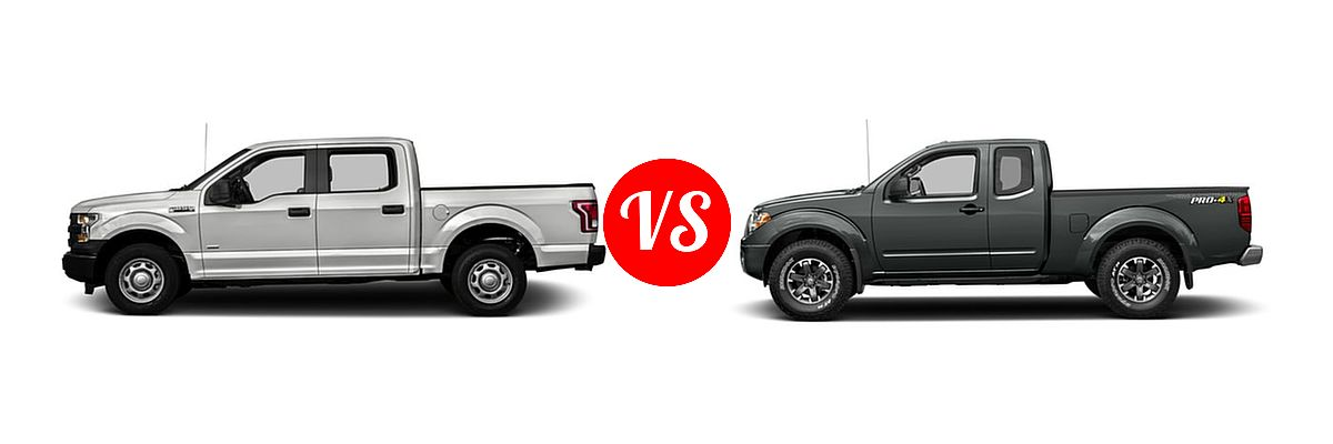2016 Ford F-150 Pickup XL vs. 2016 Nissan Frontier Pickup PRO-4X - Side Comparison