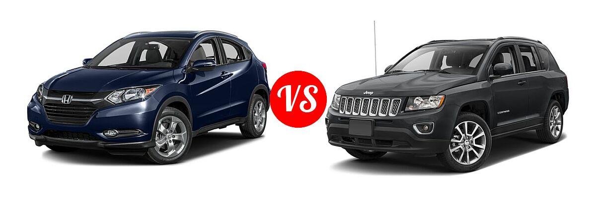 2016 Honda HR-V SUV EX-L w/Navi vs. 2016 Jeep Compass SUV High Altitude Edition - Front Left Comparison
