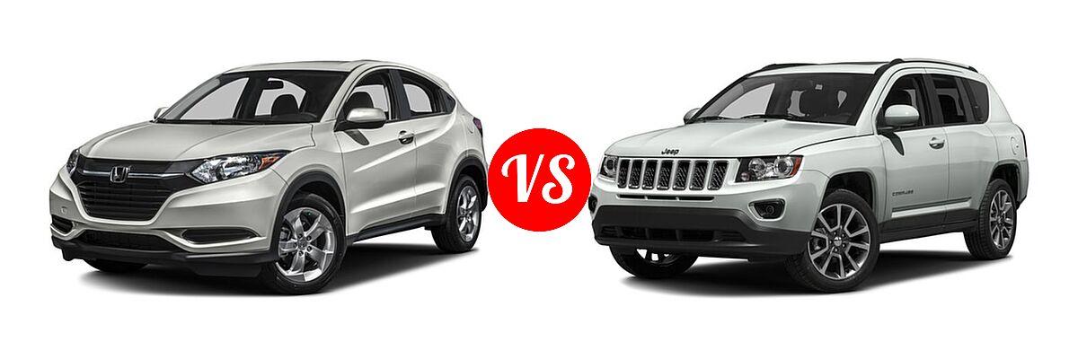 2016 Honda HR-V SUV LX vs. 2016 Jeep Compass SUV 75th Anniversary / Latitude / Sport / Sport SE Pkg - Front Left Comparison