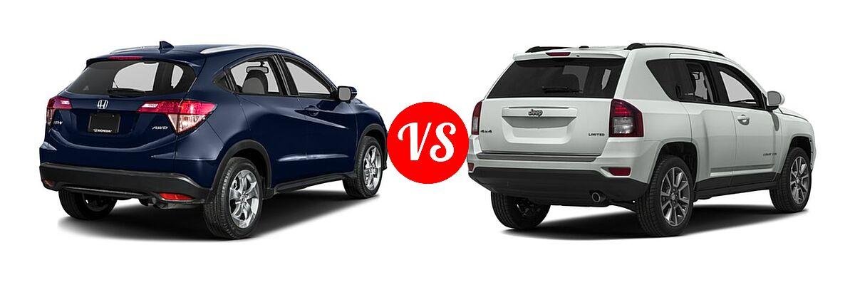 2016 Honda HR-V SUV EX-L w/Navi vs. 2016 Jeep Compass SUV 75th Anniversary / Latitude / Sport / Sport SE Pkg - Rear Right Comparison