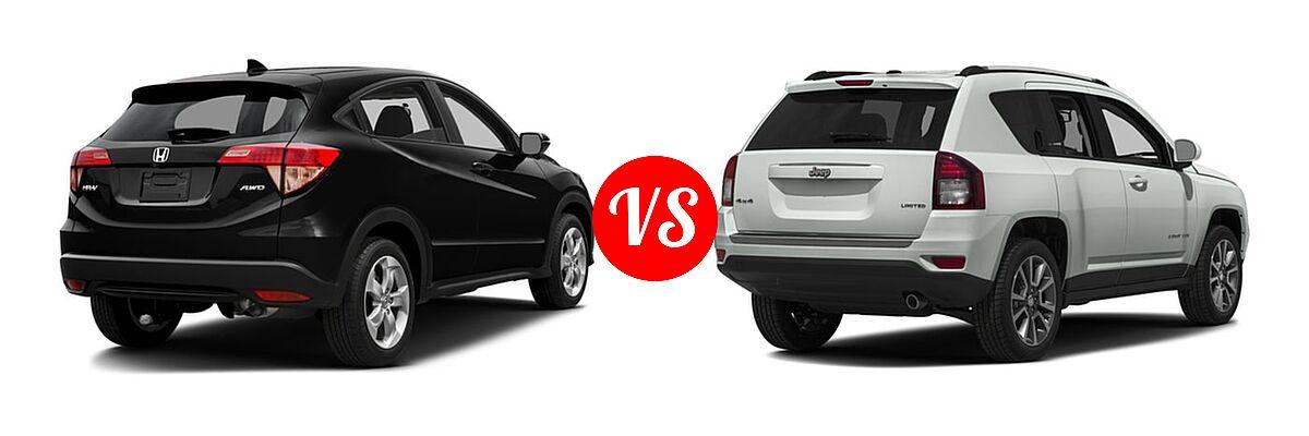 2016 Honda HR-V SUV EX vs. 2016 Jeep Compass SUV 75th Anniversary / Latitude / Sport / Sport SE Pkg - Rear Right Comparison