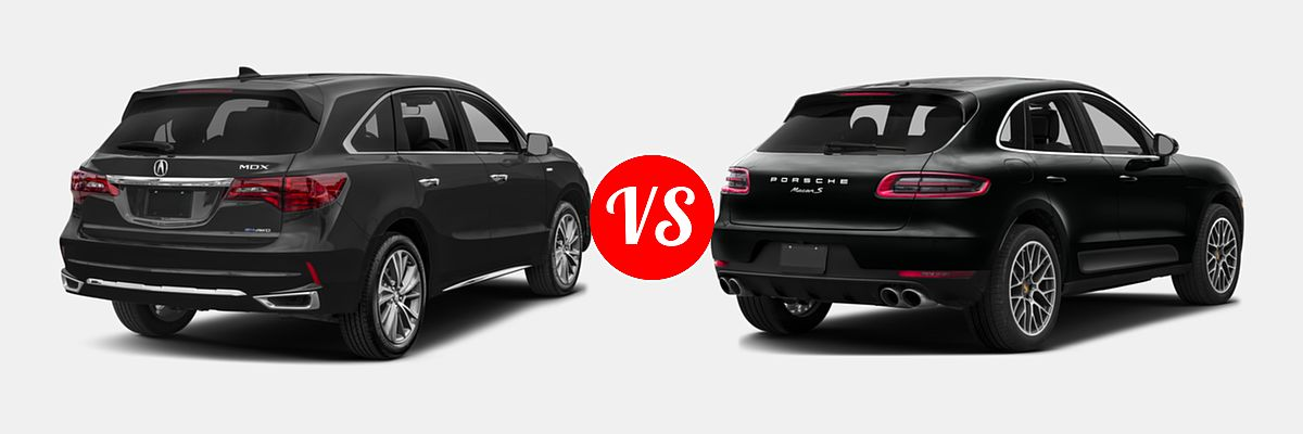 2017 Acura Mdx Hybrid Vs 2016 Porsche Macan Rear Right Comparison