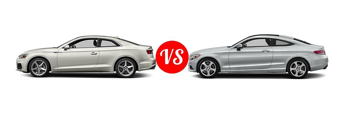 2018 Audi A5 Coupe Premium / Premium Plus / Prestige vs. 2018 Mercedes-Benz C-Class Coupe C 300 - Side Comparison