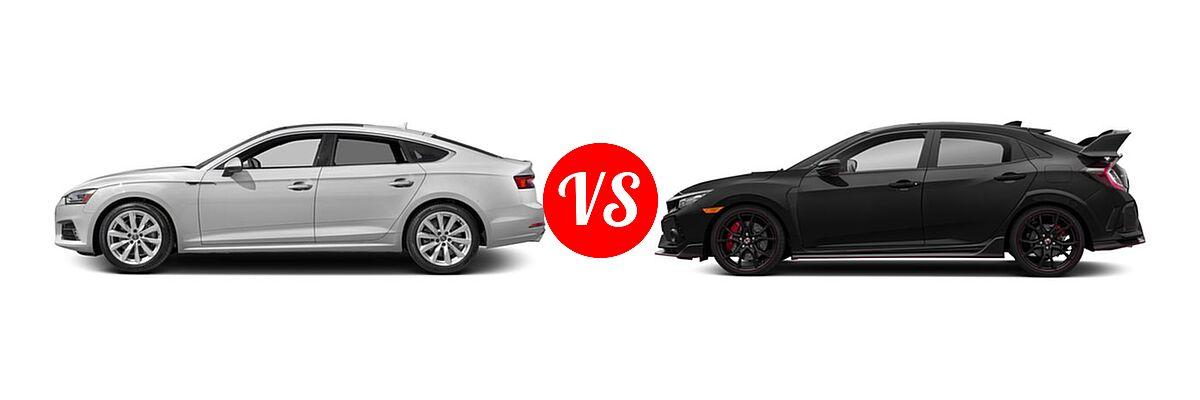 2018 Audi A5 Hatchback Premium / Premium Plus / Prestige vs. 2018 Honda Civic Type R Touring Hatchback Touring - Side Comparison