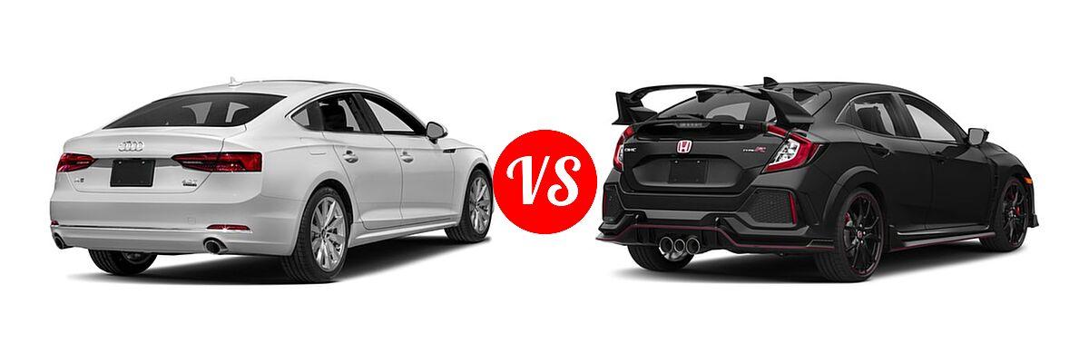 2018 Audi A5 Hatchback Premium / Premium Plus / Prestige vs. 2018 Honda Civic Type R Touring Hatchback Touring - Rear Right Comparison