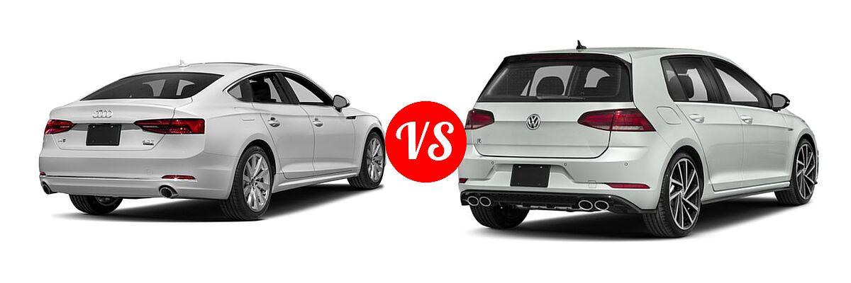 2018 Audi A5 Hatchback Premium / Premium Plus / Prestige vs. 2018 Volkswagen Golf R Hatchback 2.0T DSG w/DCC/Nav / 2.0T Manual w/DCC/Nav - Rear Right Comparison