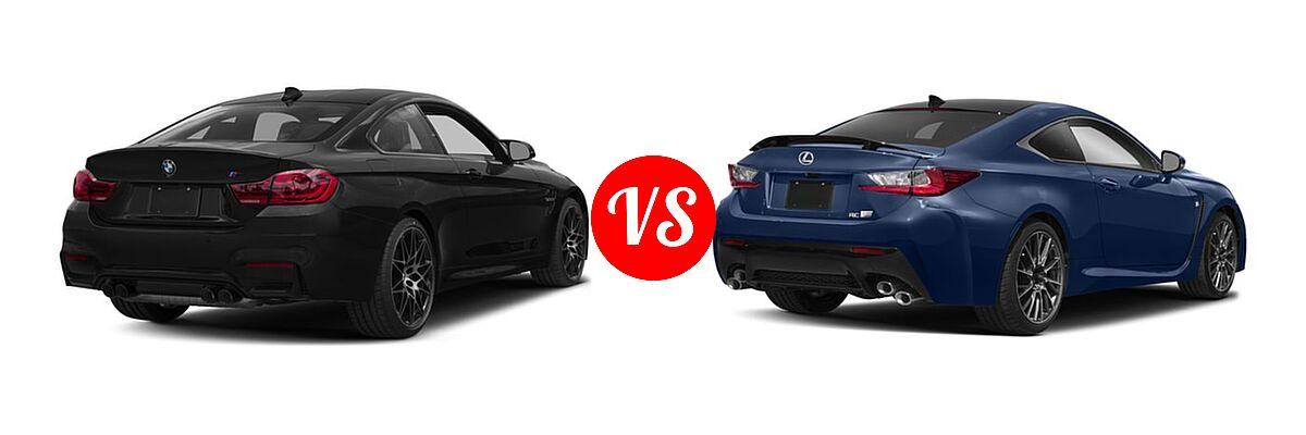 2018 BMW M4 Coupe Coupe vs. 2018 Lexus RC F Coupe RWD - Rear Right Comparison