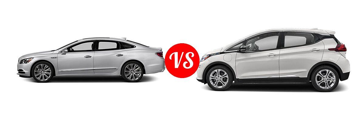 2018 Buick LaCrosse Sedan Hybrid Essence / Preferred / Premium vs. 2021 Chevrolet Bolt EV Hatchback Electric LT - Side Comparison