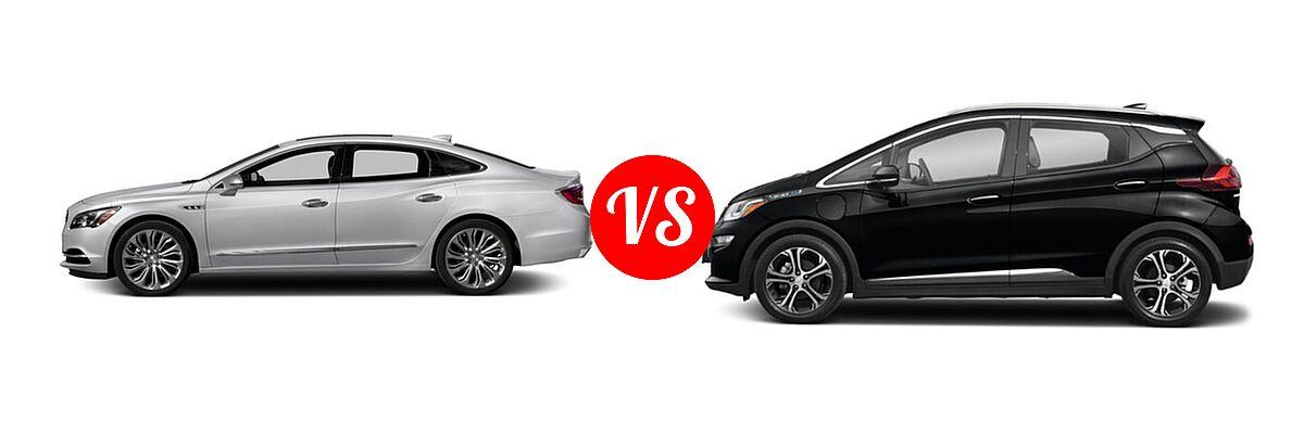 2018 Buick LaCrosse Sedan Hybrid Essence / Preferred / Premium vs. 2021 Chevrolet Bolt EV Hatchback Electric Premier - Side Comparison